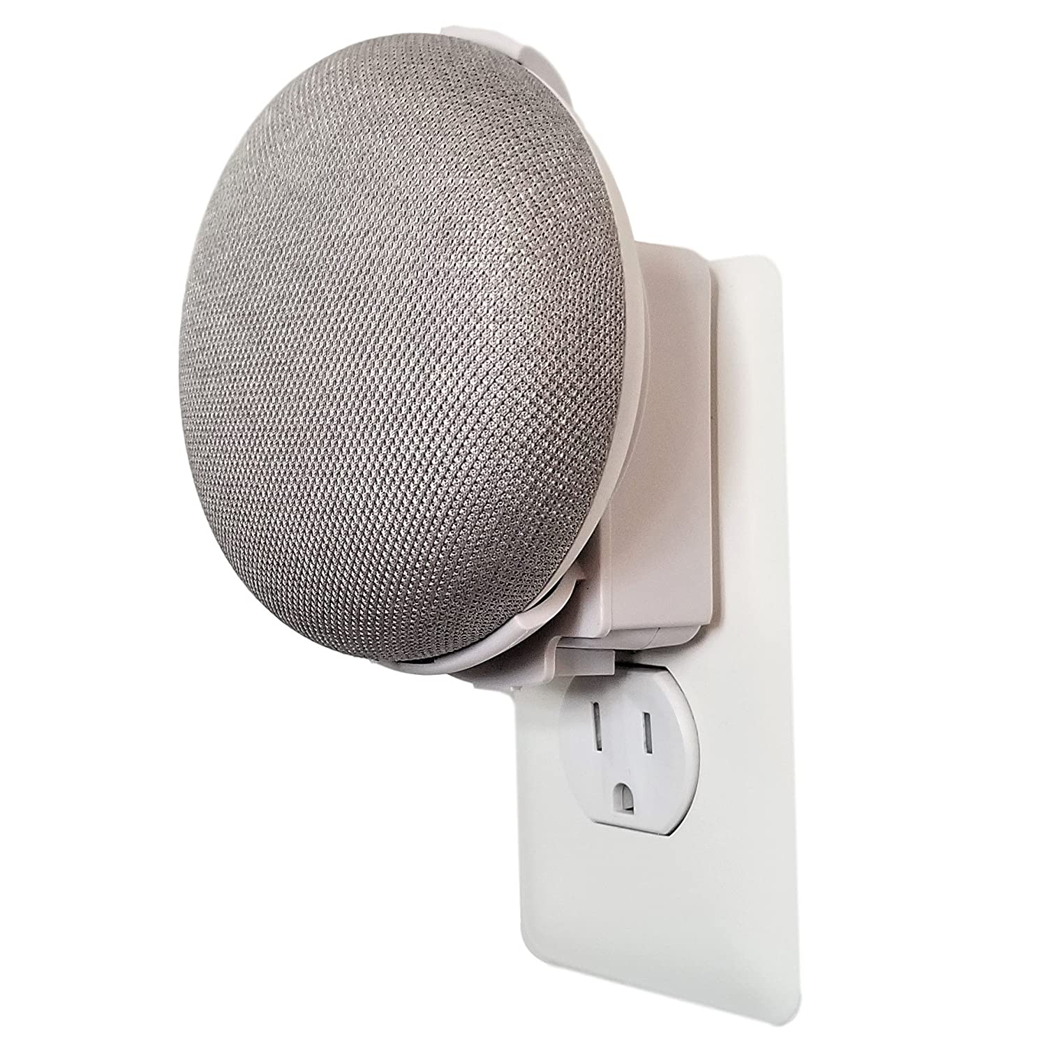 Dot Genie Google Home Mini Backpack: The Simplest and Cleanest Outlet Wall Mount Hanger Stand for Home Mini Voice Assistants by Google - No Cord Wrapping Required - Designed in USA (White)