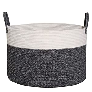 "COMEMORY Cotton Rope Basket, Large Laundry Basket with Long Handles, 20"" x 14"" Blanket Basket, Wide Woven Storage Basket, Decorative Floor Basket for Living Room and Laundry"