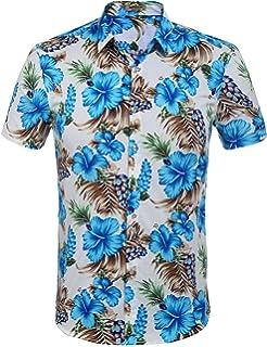 316edead2 Hotouch Men's Short Sleeve Button Down Shirt Floral Print Cotton Beach  Hawaiian Flower Shirts