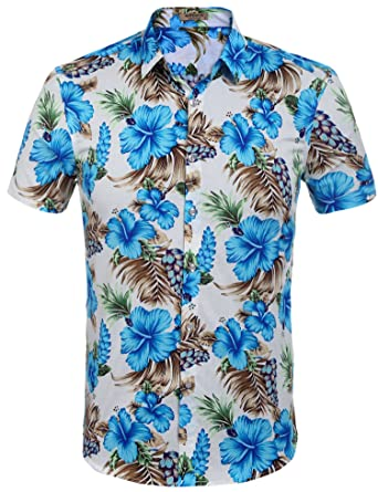 6ab1a836 Amazon.com: Hotouch Men's Hawaiian Aloha Shirt Short Sleeve Tropical ...