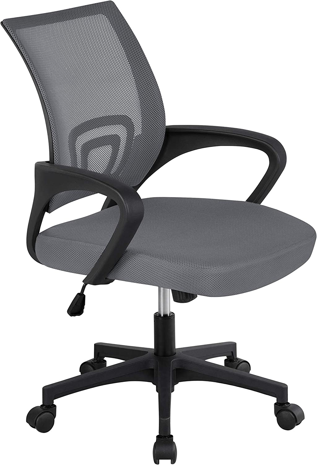 Topeakmart Mesh Desk Chair with Lumbar Support & 360° Rolling Casters, Mid Back Office Chairs for Reception Room Dark Gray