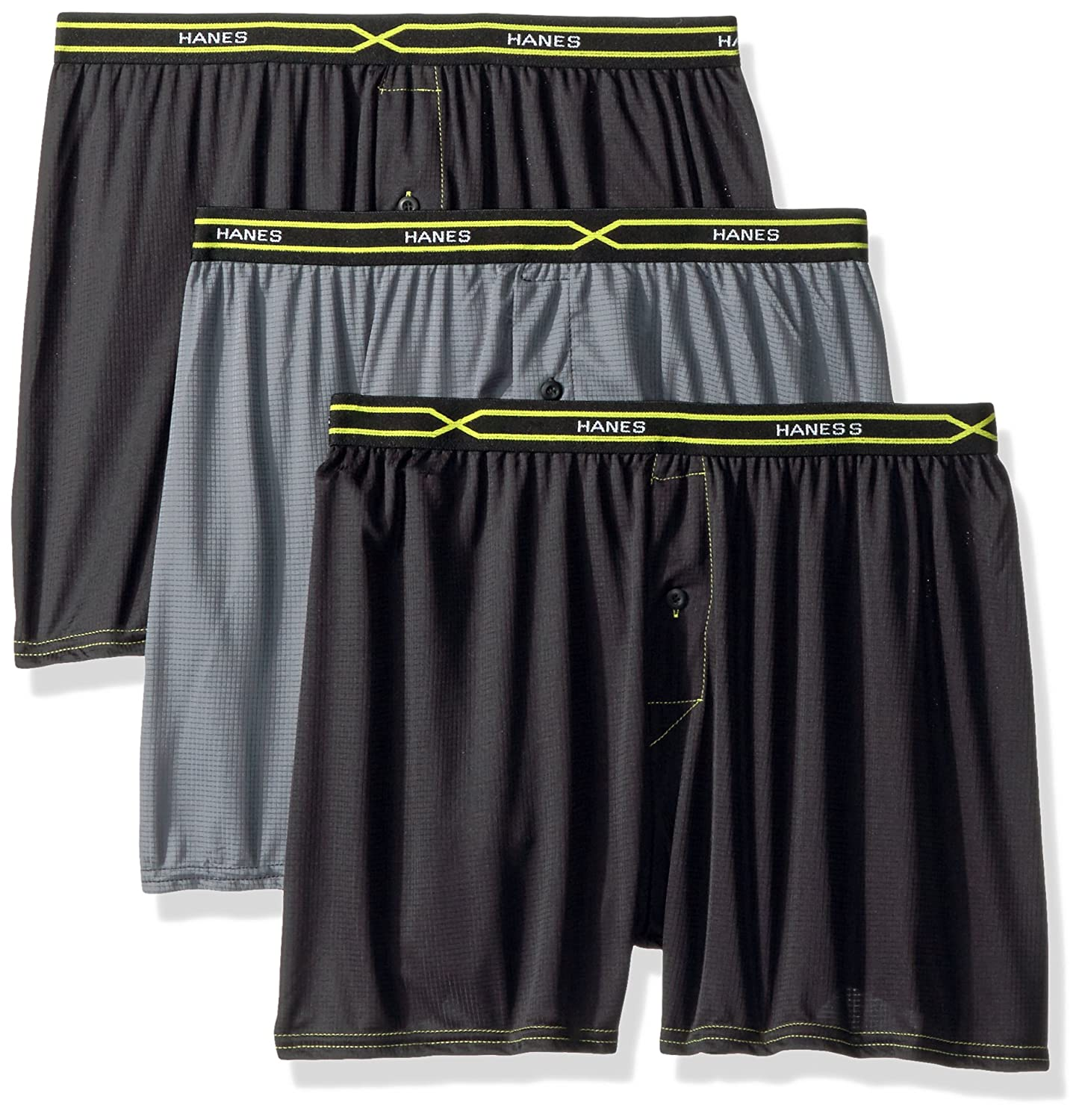 Hanes Men's 3-Pack X-Temp Performance Cool Checker Polyester Boxers PXBCA3