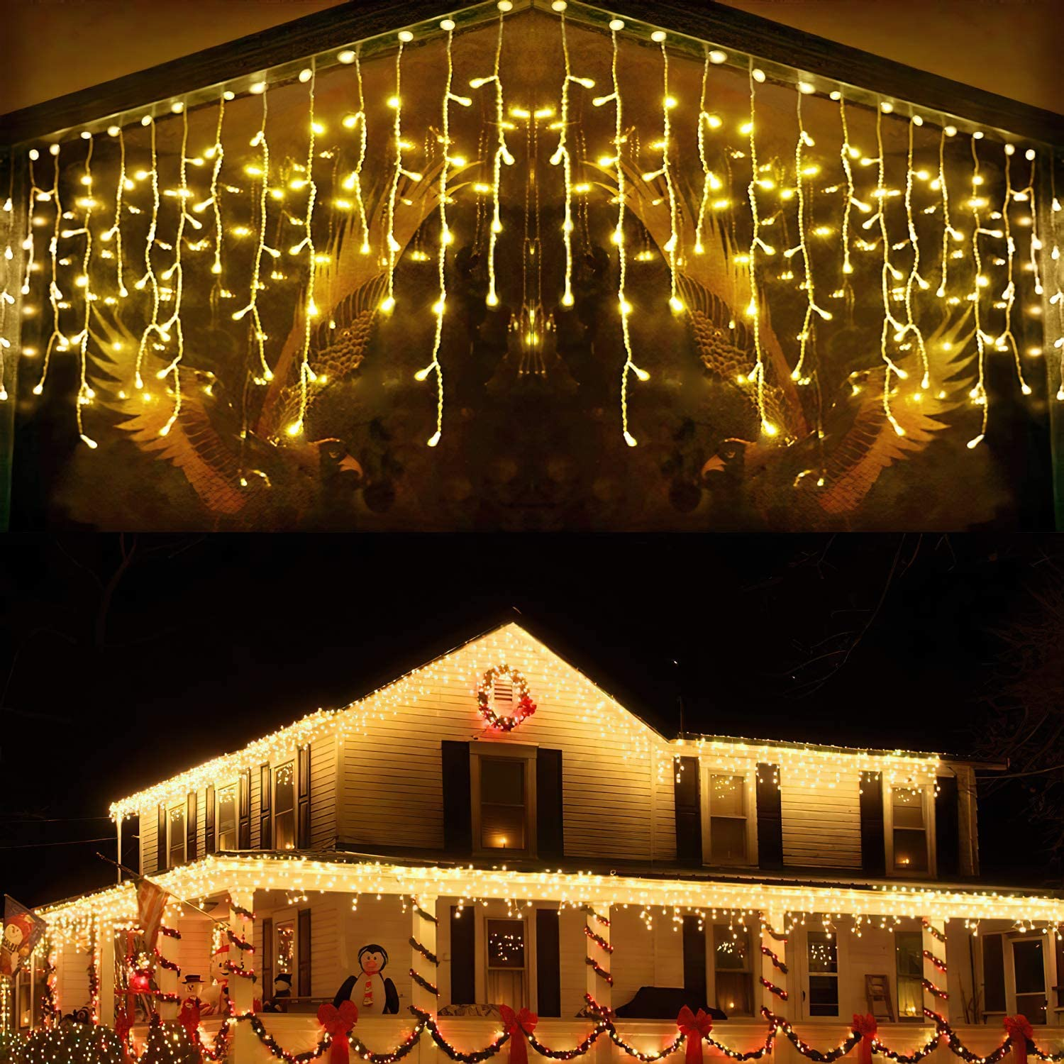 LANFU LED Warm White Icicle Lights,33ft,400LEDs,8Modes,Curtain Fairy String Light,Clear Wire LED String Decor for Indoor Outdoor Wall Decorations/Party Backdrop/Christmas/Easter/Halloween/Thanksgiving