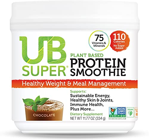 UB Super Plant Based, Vegan Protein Powder, Gluten Free, SuperFood, Nutrient Rich, Smoothie Mix Dietary Supplement Chocolate