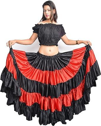 Wevez mujeres de España Flamenco danza 25 Yard falda, Mujer, color Red/black, tamaño Talla única: Amazon.es: Ropa y accesorios