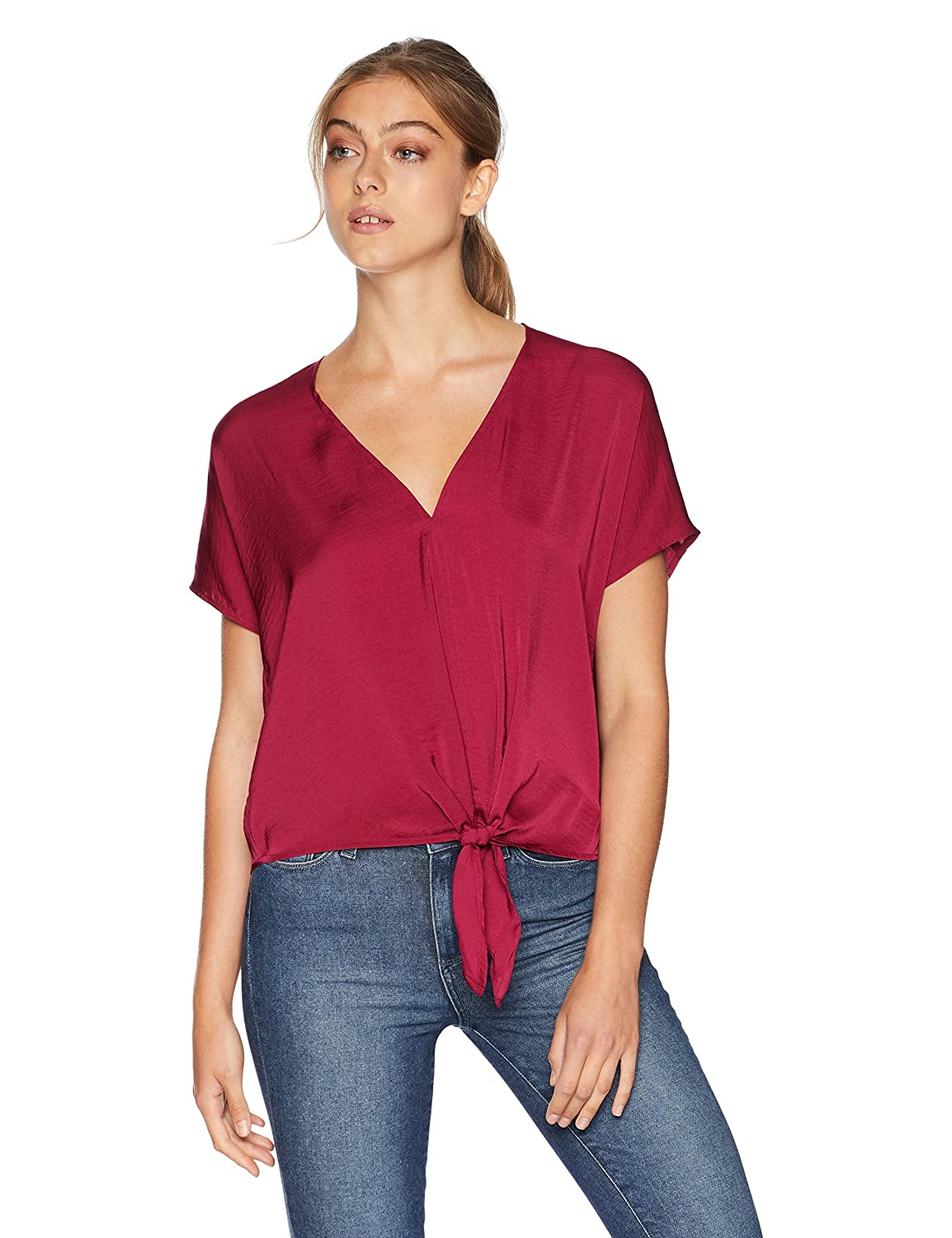 Beet Red Lucky Brand Womens Tie Front Top Blouse