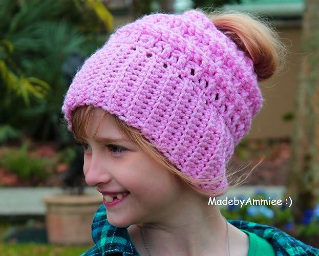 Amazon.com  Crochet Katniss Style Messy Ponytail Bun Beanie e6eb13eb937