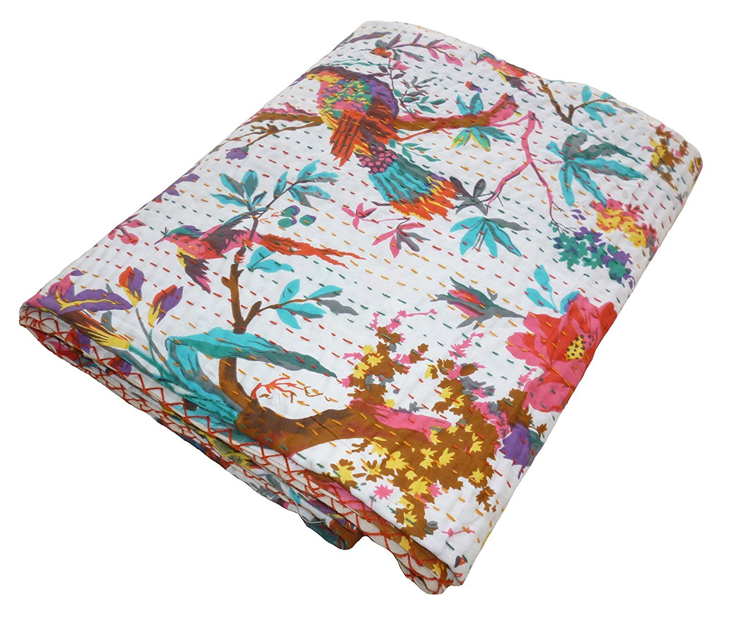 Cheap khushvin BIRD PRINTED Kantha Quilt Throw, AC RALLY QUILT Kantha Blanket, Bed Cover, King Kantha Bedspread, Bohemian Bedding Kantha Size 90 Inch X 108 Inch supplier