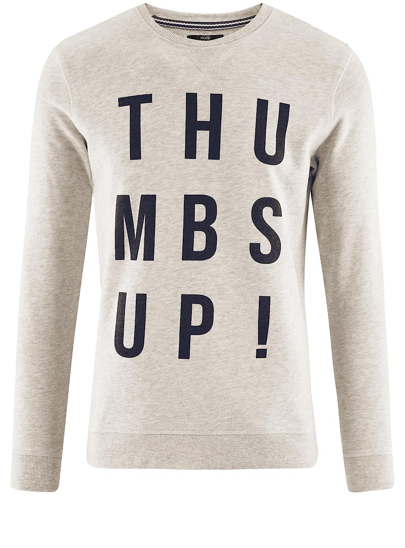 2f640beb49a2 oodji Ultra Homme Sweat-Shirt en Fil Mélangé avec Inscription  Amazon.fr   Vêtements et accessoires