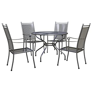 Royal Garden 1.05 M Excelsior Round 4 Seater Set   Grey