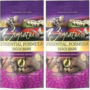 Zignature Zssentials Ziggy Bars Dog Treats 12 Ounce Bag. (New) 2 Pack