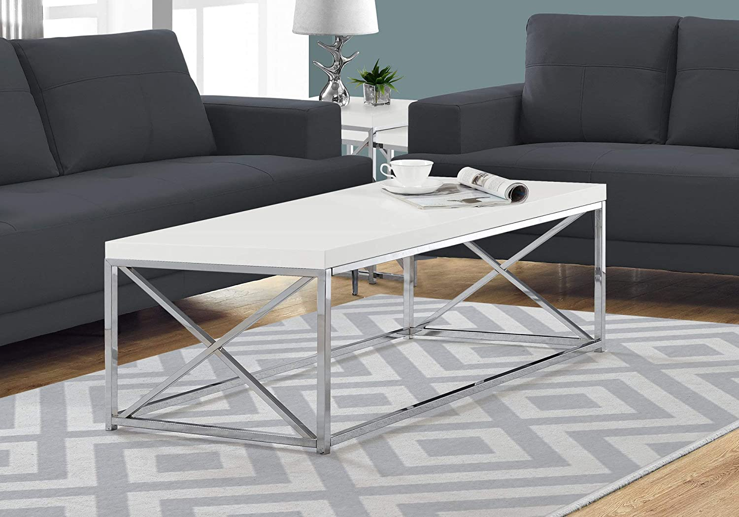 Monarch Specialties Modern Coffee Table for Living Room Center Table with Metal Frame, 44 Inch L, Glossy White / Chrome: Kitchen & Dining