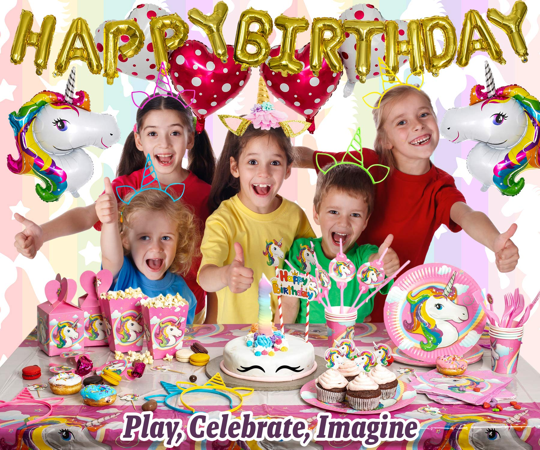 Imagine's Complete Unicorn Party Supplies – 220+ Piece Rainbow Girls Birthday Supplies Pack with Unicorn Balloons… 4