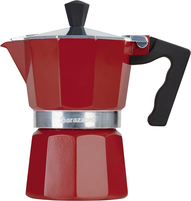 Barazzoni la cafetera de 3 Tazas, Aluminio, Rojo, 8.7 x 15.1 x ...