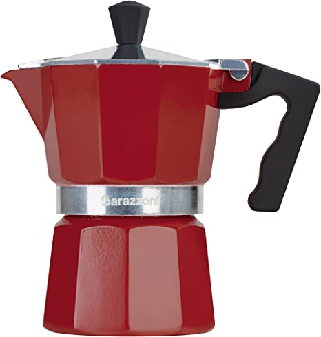Barazzoni la cafetera colorata 1 Taza, Aluminio, Rojo, 6.6 x 12.4 x 13.1 cm: Amazon.es: Hogar