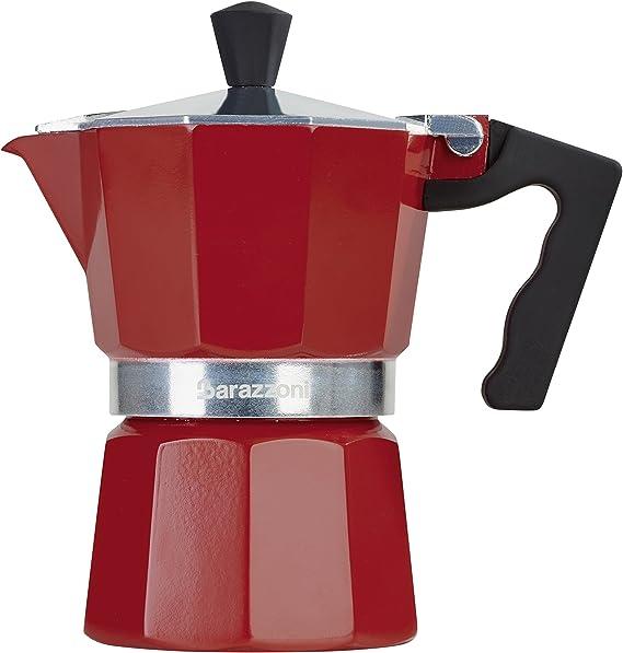 Barazzoni la cafetera colorata 1 Taza, Aluminio, Rojo, 6.6 x 12.4 ...