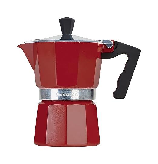 Barazzoni la cafetera de 3 Tazas, Aluminio, Rojo, 8.7 x 15.1 ...