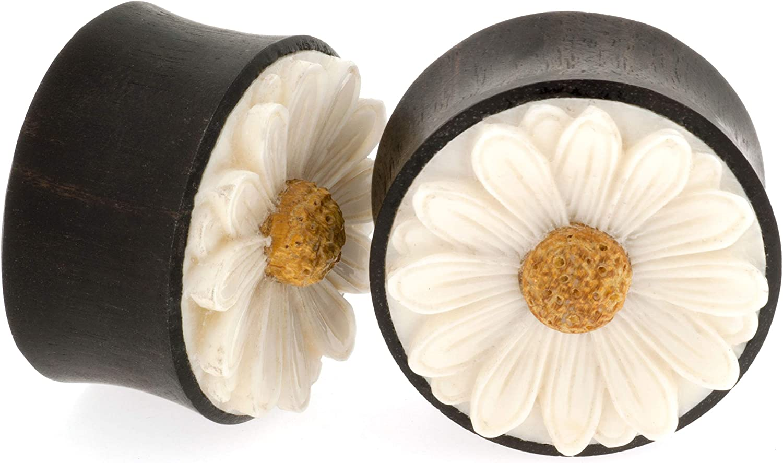 Pair of Arang Wood Daisy Plugs with Bone Inlay