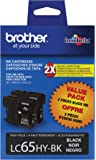 Brother LC65HYBK2 High-Yield 2-Pack Ink Cartridge, 900 Page-Yield, Black