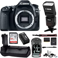 Canon EOS 80D Digital Camera Body Only with 80GB Memory + Battery Grip + TTL Camera Flash Advanced Holiday Bundle