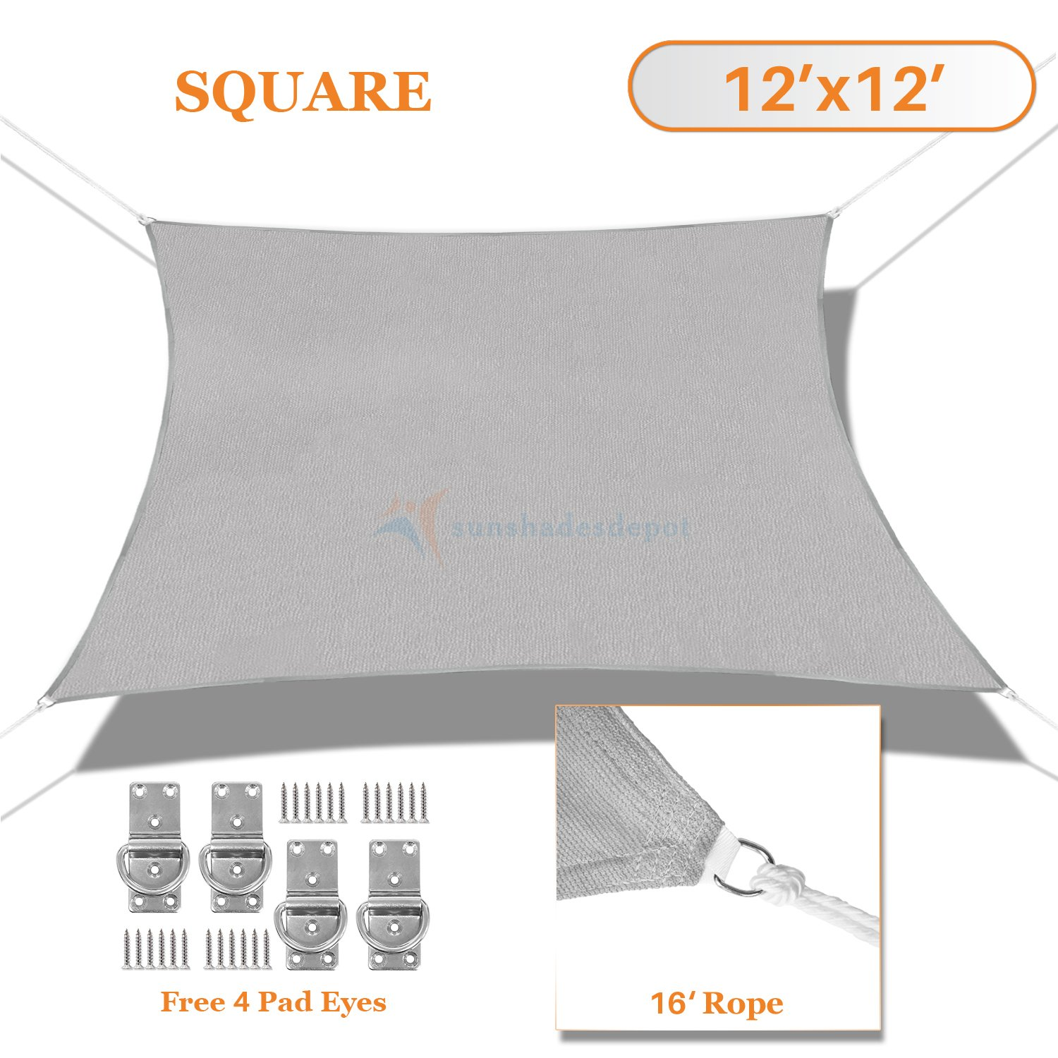 Sunshades Depot 12' x 12' Light Grey Sun Shade Sail Square Permeable Canopy Customize Commercial Standard 180 GSM HDPE