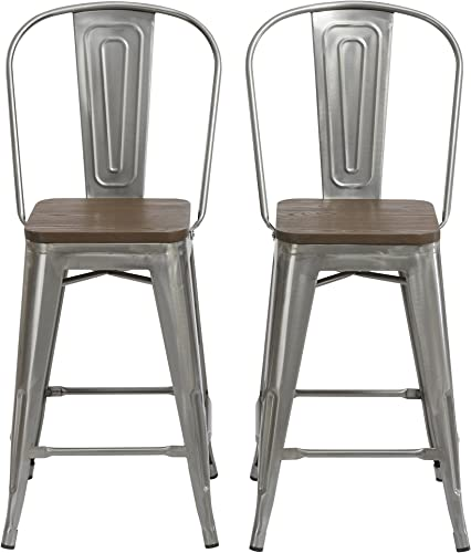 BTEXPERT 24 Industrial Clear Metal Vintage Antique Style Distressed Brush Rustic Dining Counter Height Bar Stool Chair High Back Wooden top'seat Set of 2 Barstool