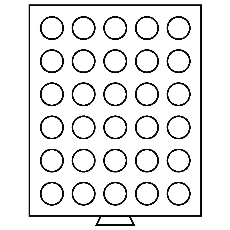Leuchtturm 318127 Bandeja para monedas 30 divisiones redondas de 33 mm /Ø color humo