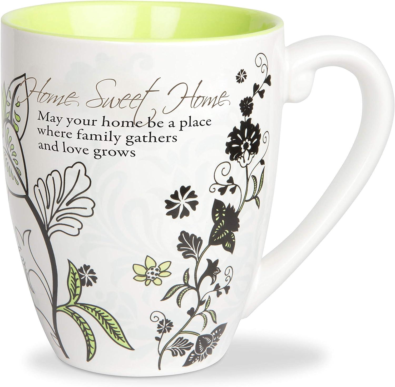 Pavilion Gift Company Green Floral 20 Oz Tea Cup Coffee Mug Sweet Home