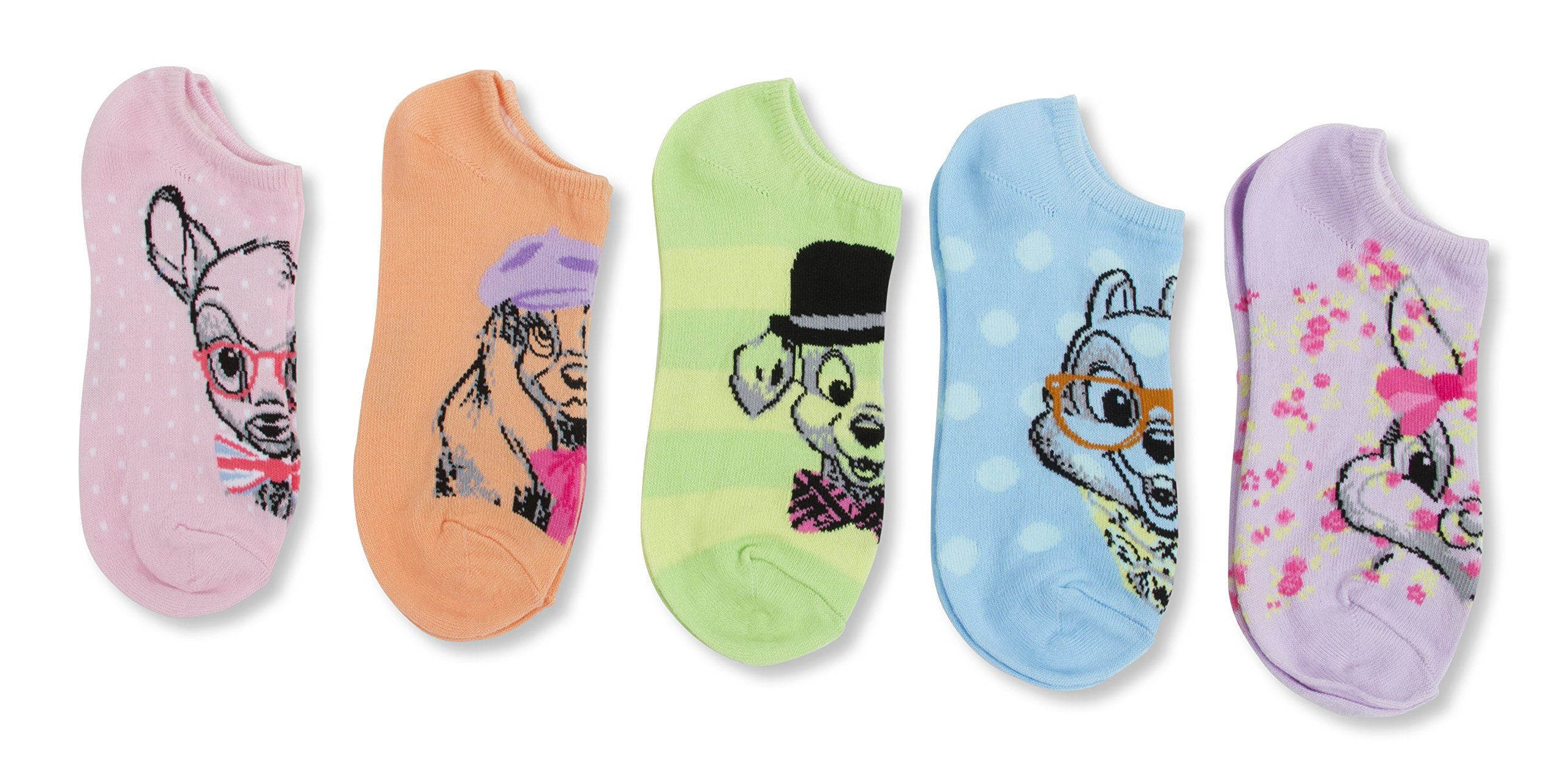 Disney Classics Retro 5 pk No Show Socks