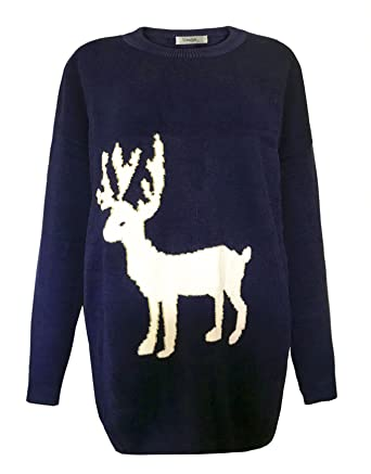Orilife Women's Oversized Christmas Reindeer Pullover Sweaters ...