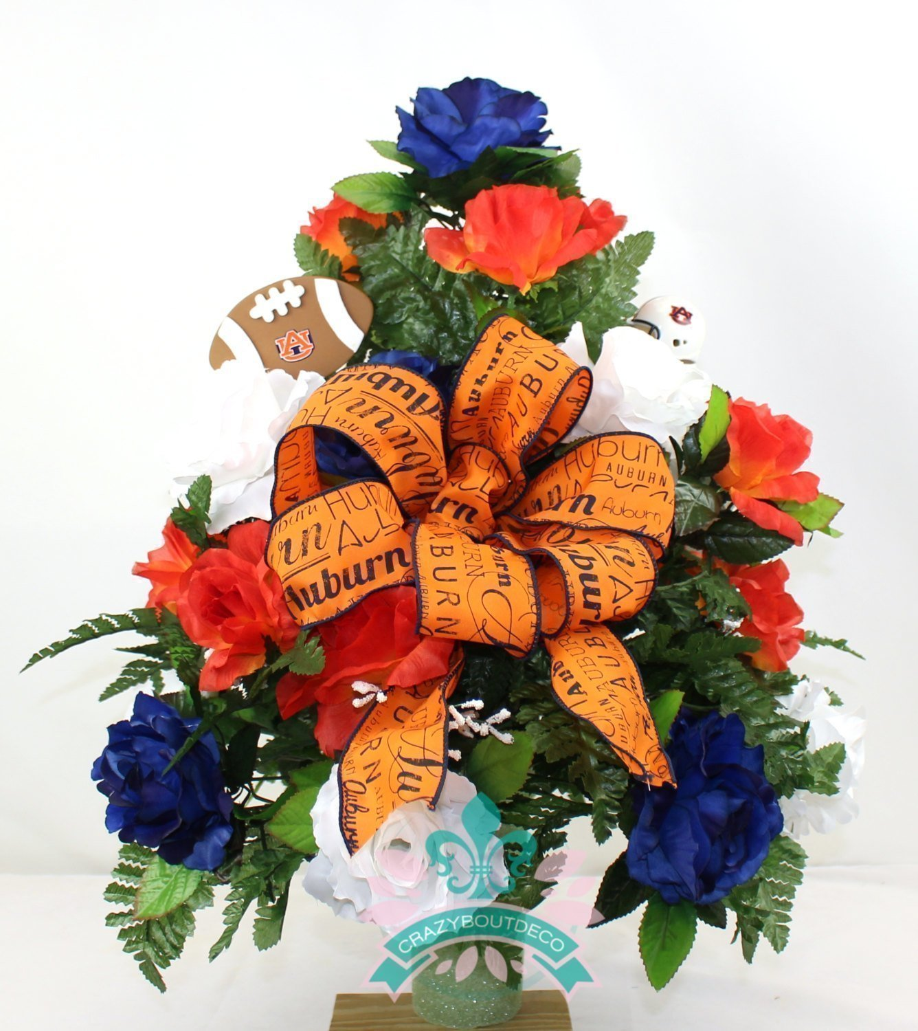 Amazon Auburn Tigers Navy Orange And White Roses 3 Vase