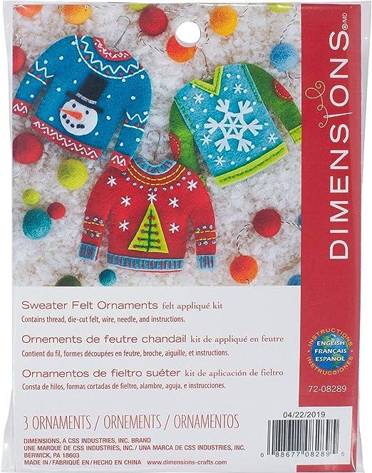 Dimensions Needlecrafts Felt Applique Christmas Sweater Ornament Craft Kit, 3 Pc
