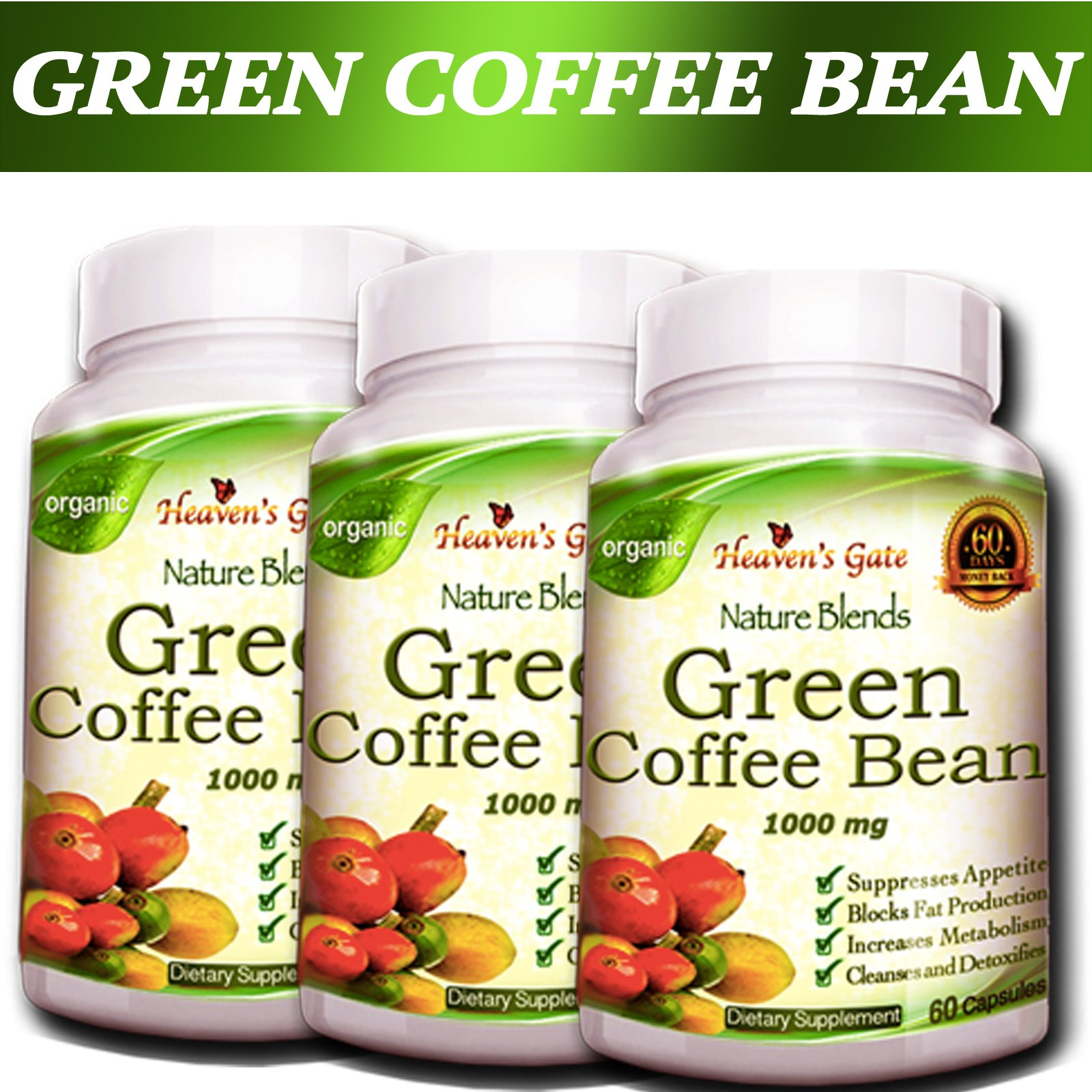 5 PACK PURE GREEN COFFEE BEAN EXTRACT NATURAL WEIGHT LOSS DETOX DIET BURN FAT