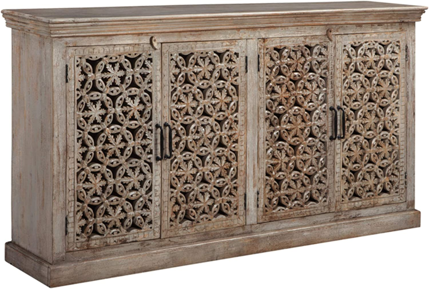 Signature Design by Ashley - Fossil Ridge 4-Door Accent Cabinet - Contemporary - Hand Carved Medallion Pattern - Amber