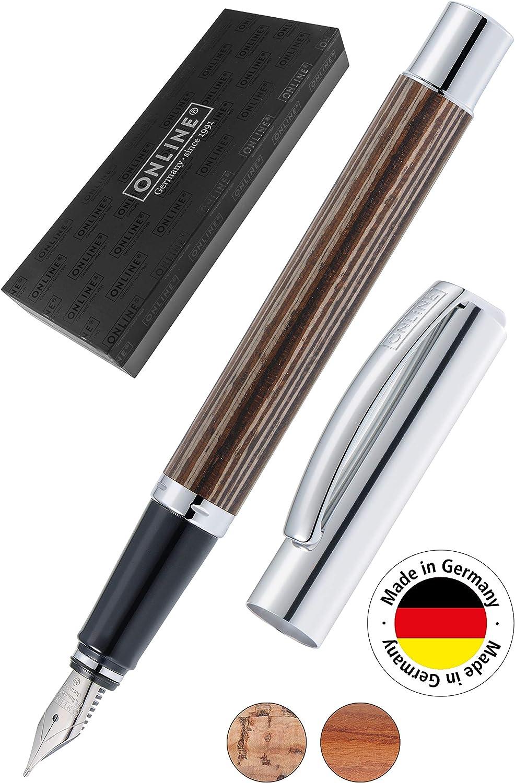Online Vision Nature 36915 - Pluma estilográfica (incluye estuche), color marrón y negro: Amazon.es: Oficina y papelería
