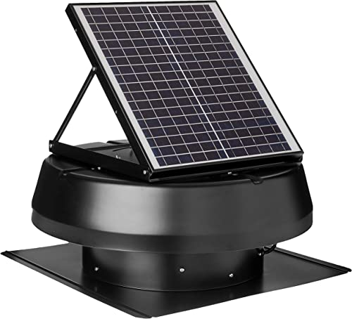 iLIVING HYBRID Ready Smart Exhaust Solar Roof Attic Exhaust Fan, 14 , Black