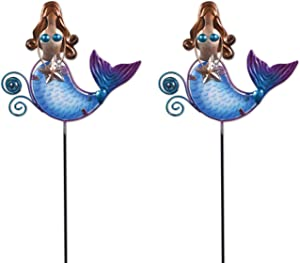 Sunset Vista Designs 93512 Coastal Collection 2-Count Colorful Metal and Glass Decorative Garden Stake/Plant Picks, Mermaid