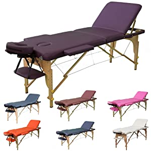 H-ROOT 3 Section Lightweight Portable Massage Table Couch Bed Plinth Therapy Tatoo Salon Reiki Healing Swedish Massage 13.5KG (PURPLE)
