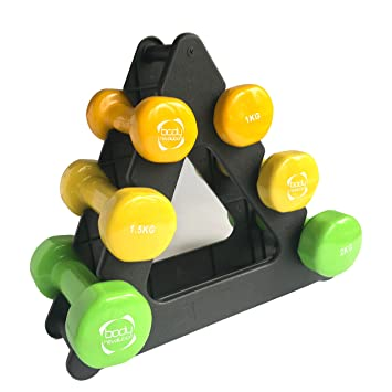 Cuerpo revolución 9 kg Aerobic vinilo juego de mancuernas con Rack de almacenamiento - Home Fitness Yoga aeróbic: Amazon.es: Deportes y aire libre