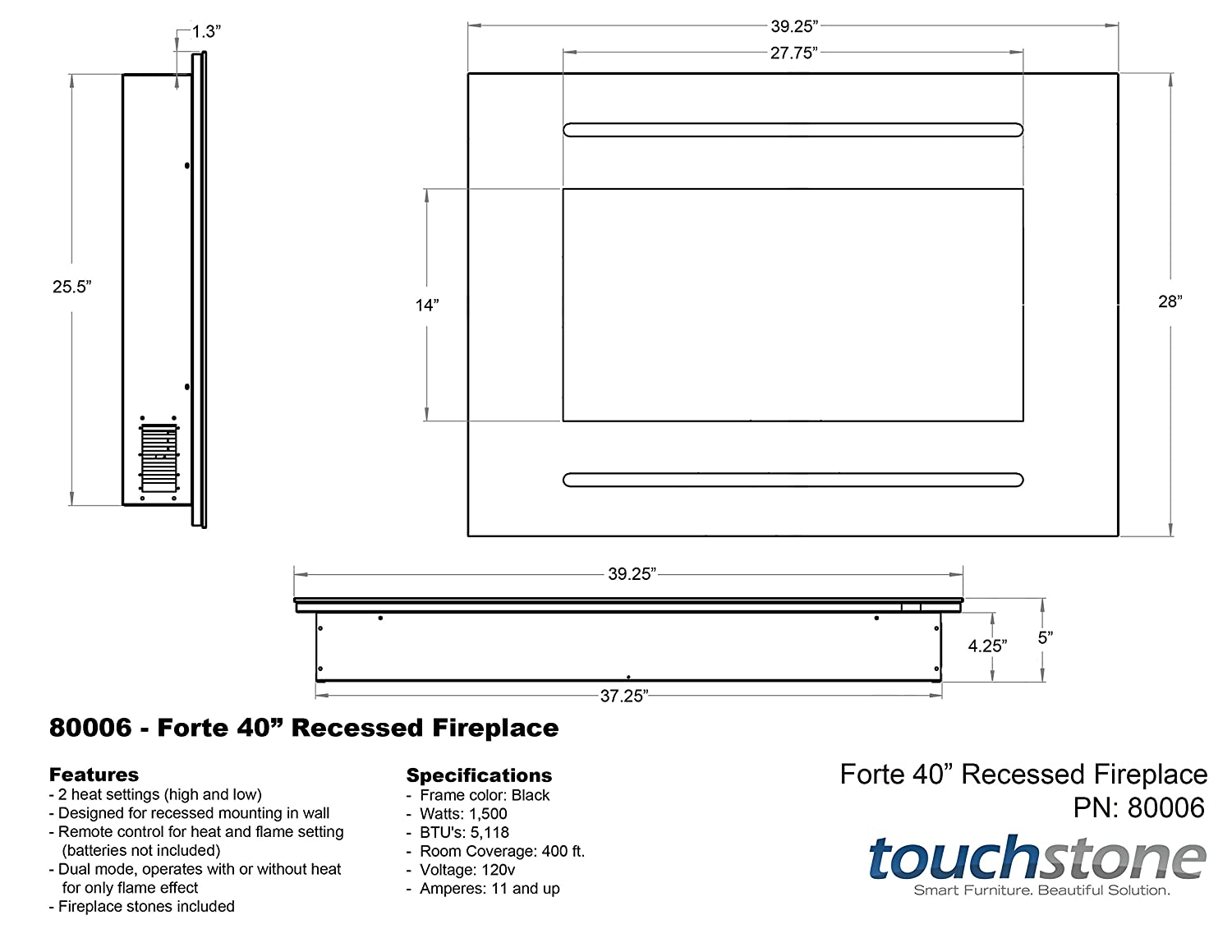 amazon com touchstone 80006 forte in wall recessed electric