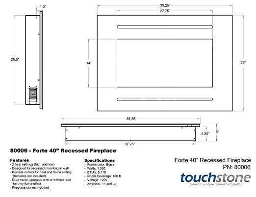 Amazon.com: Touchstone 80006 Forte In-Wall Recessed Electric ...