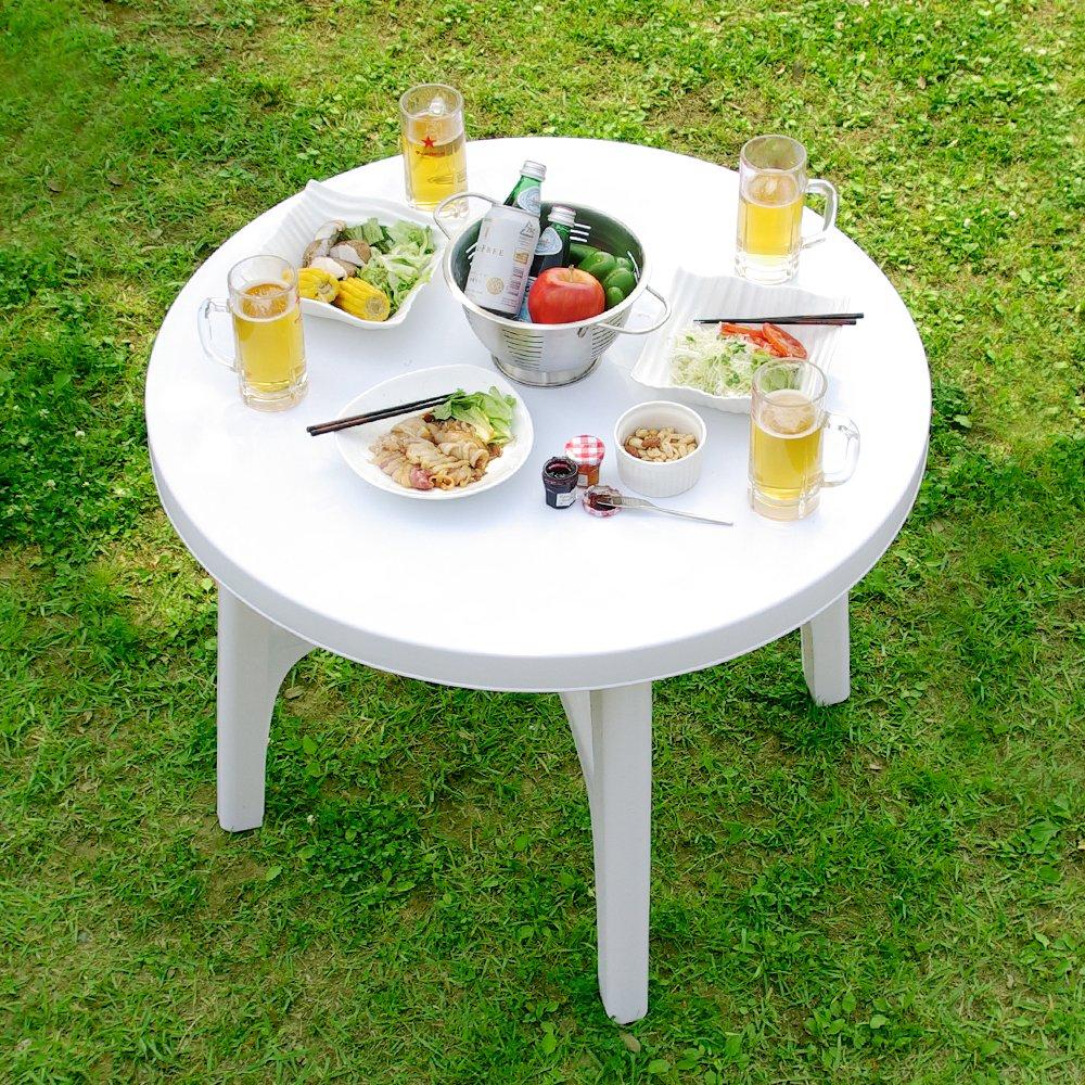 LOWYA (ロウヤ) ガーデン ガーデンテーブルセット 5点セット パラソル穴付 スタッキングチェア 軽量 丸洗いOK ホワイト B00JM471DO 【セット】5点セット(テーブル×1、チェア×4)
