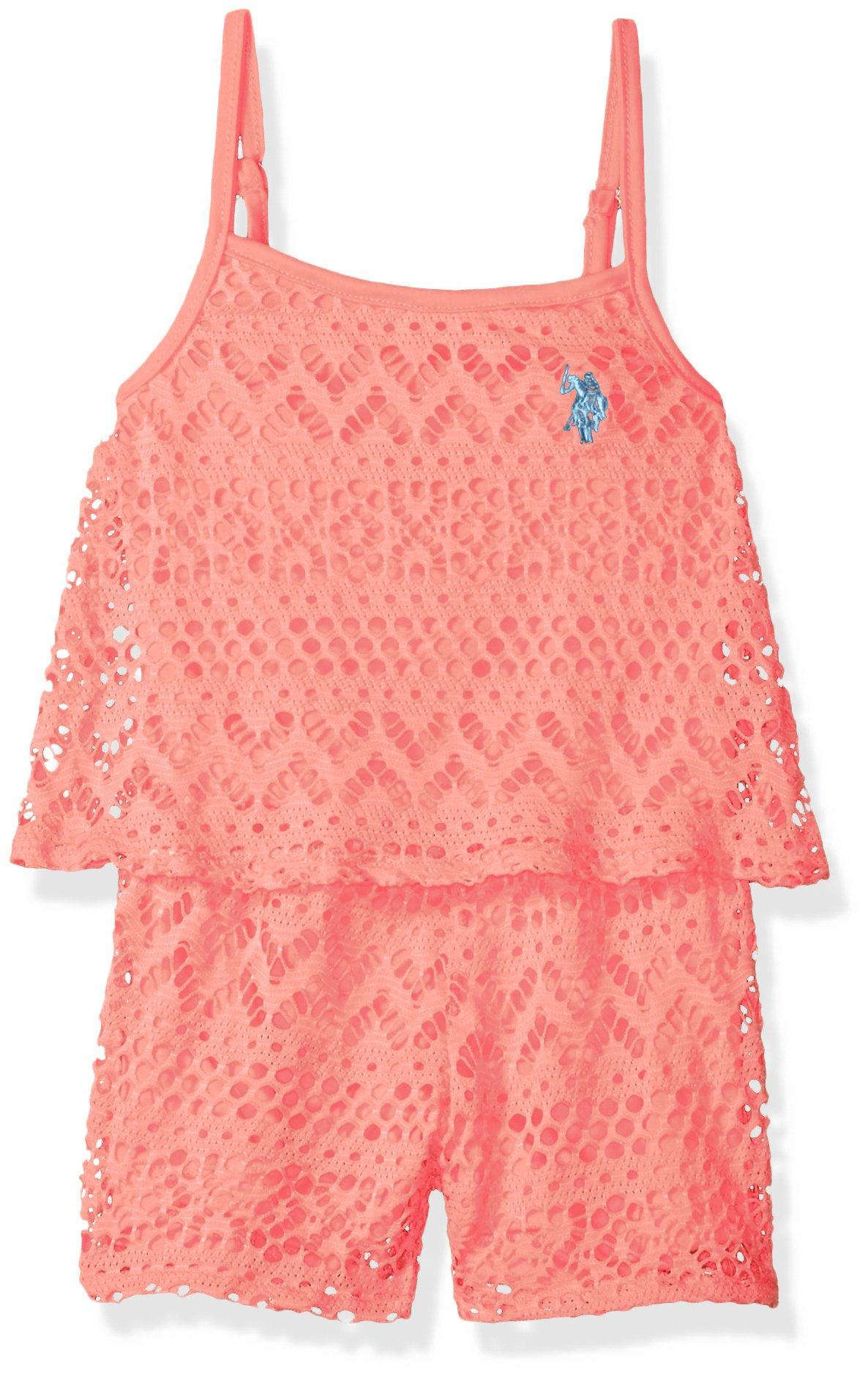 U.S. Polo Assn. Little Girls' Romper, Bell Sleeve Neckline Embro Romper Neon Light Coral, 5/6
