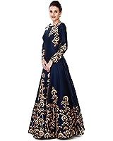 Ethnic Empire Women's Taffeta Silk Semi Stitched Anarkali Salwar Suits (Eed-Ea10756_Blue_Free Size)