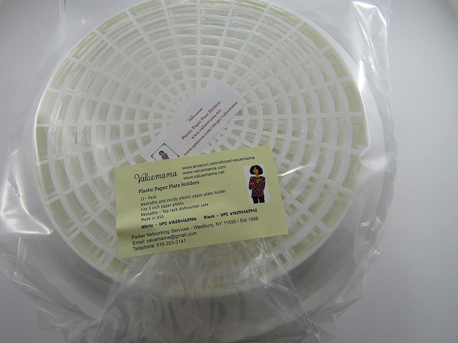 Paper Plate Holders Plastic Heavy Duty Reusable And Durable 9-Inch White 12 Pack