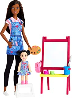 Amazon Com Barbie Cake Decorating Playset With Brunette Doll Baking Island Molding Dough More Toys Games
