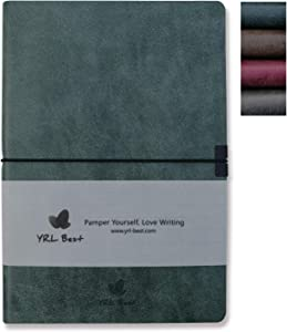 "YRL Best Writing Journal/Notebook, College Ruled/Lined, A5 Size, 5.8x8.3"", Premium Faux Leather Soft Cover, Creamy Thick Paper, Sewn Bound, Elastic Wrap, Inner Pocket, Pen Loop, Lays Flat, Green"