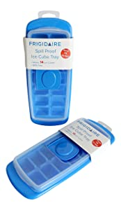 No Spill Ice Cube Tray with Removable Cover,Blue, Set of 2