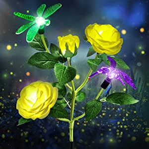 TYNLED Solar Lights Outdoor Decorative, Waterproof LED Multi-Color Changing Outdoor Solar Garden Statues Decor Lights Rose Flowers Solar Stake Lights Hummingbird Dragonfly for Garden Yard (Yellow)