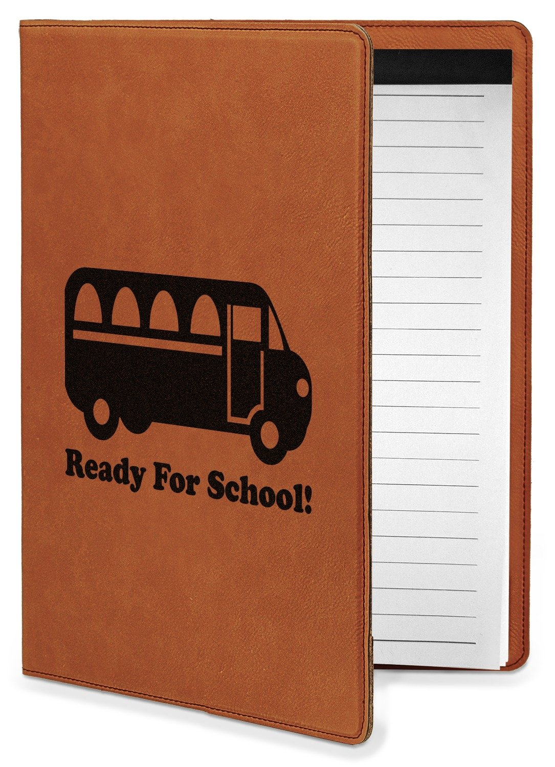 School Bus Leatherette Portfolio with Notepad - Small - Single Sided (Personalized)